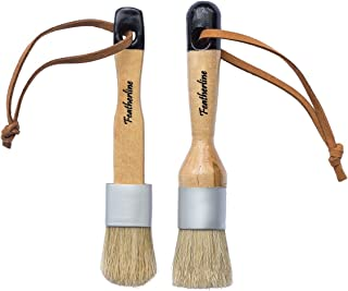Featherline Series Pro Chalked Paint & Waxing Combination 2 Brush Set | 1 Inch Round and Flat Detail Brushes | Use with All Brand of chalked Paint