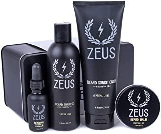 Zeus Everyday Beard Grooming Kit- Men's Daily Set for Quality Beard Maintenance (Verbena Lime)