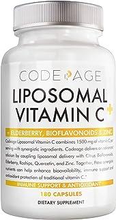 Liposomal Vitamin C 1500mg with Zinc, Elderberry, Citrus Bioflavonoids Grapefruit, Lemon, Orange Powder, Quercetin & Rose Hips Fruit – Natural Vegan Supplement - Non-GMO, Vegan Pills, 180 Capsules