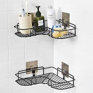 ZOMOZA Wrought Iron Kitchen Tripod Bathroom Corner Storage Shelves and Racks (Multicolor, 36x26.7x6 cm)