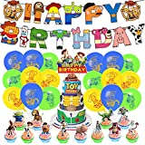 Decoraciones de Cumpleaños de Toy Story, 44 Pcs Toy Story Decoración para Fiestas, Pancarta de Cumpleaños de Toy Story Happy Birthday, Feliz Cumpleaños Banner Cake Cupcake Toppers Globos de Látex