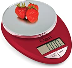 Ozeri ZK12-R Pro Báscula de cocina digital de 1 g a 5,4 kg, Color Rojo