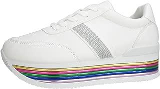 Women Metallic Platform Sneakers Casual Chunky PU Lace up Walking Shoes-Hign Heels