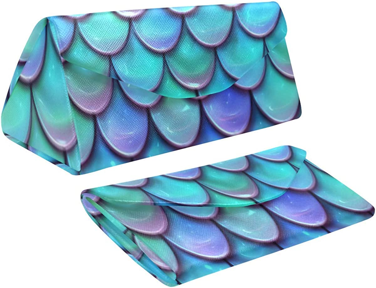 Eyeglass Cases Custom Fish Scales Purple Blue Painted Hard Shell Foldable Portable Glasses Case