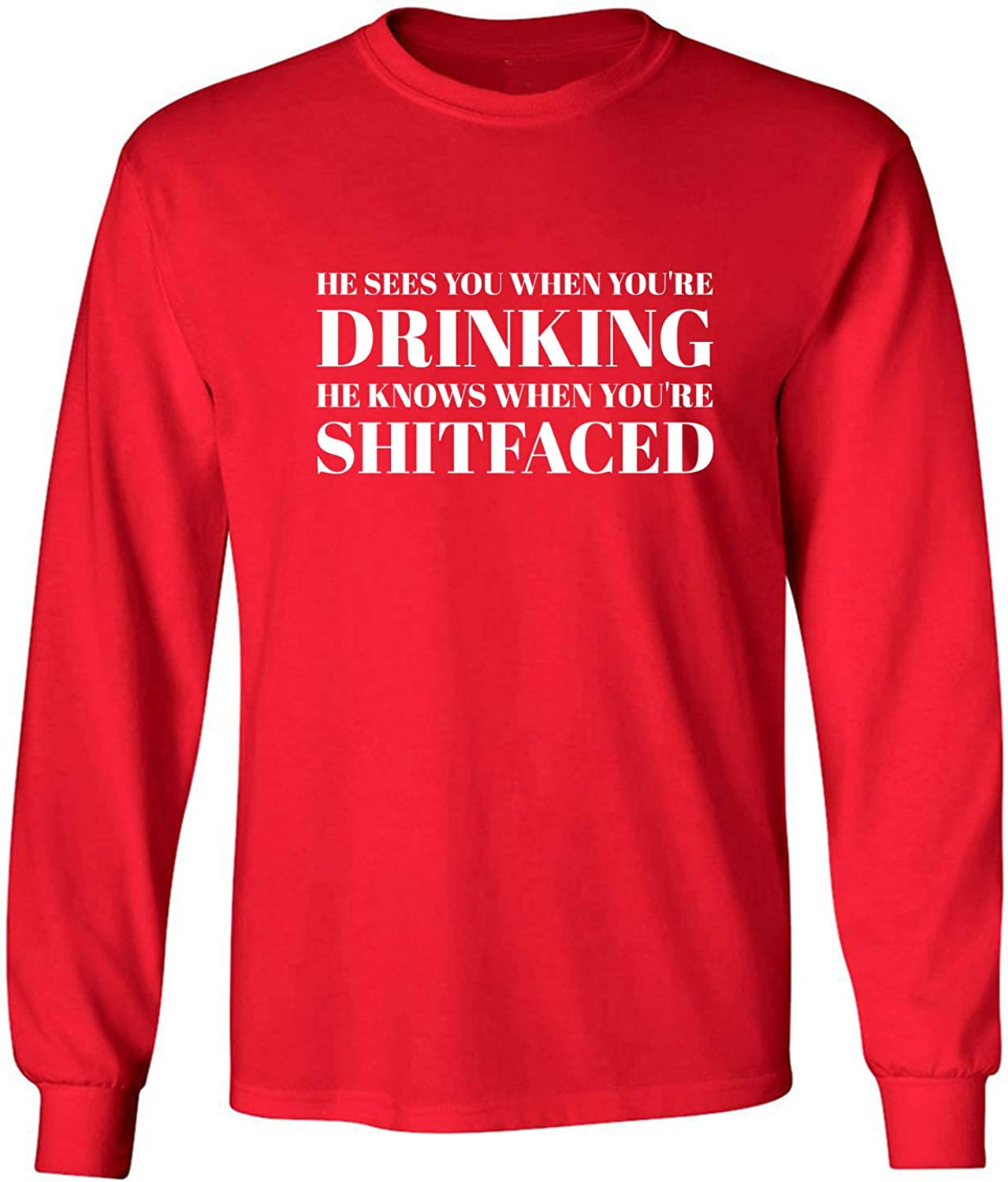 He Sees You When You're Drinking Adult Long Sleeve T-Shirt in Red - XXX-Large
