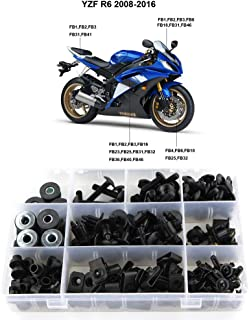 Xitomer Full Sets Fairing Bolts Kits, for Yamaha YZF-R6 2008 2009 2010 2011 2012 2013 2014 2015 2016, Mounting Kits Washers/Nuts/Fastenings/Clips/Grommets (Matte Black)
