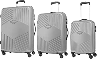 American Tourister Trillion Hardside Spinner Luggage Set of 3, with TSA Lock - Silver