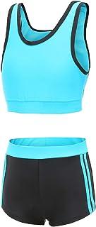 Mardonskey Girls Two Piece Tankini Swimsuit with Boyshort Kids Beach Swimwear Bathing Suit