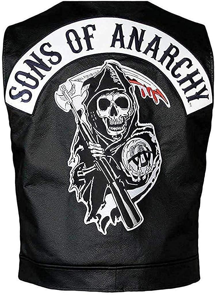 New Mens SOA Biker Club Leather Vest - Black Biker Vest