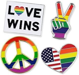 Gay Pride Rainbow Flag Love Wins LGBT Enamel Lapel Pin Set