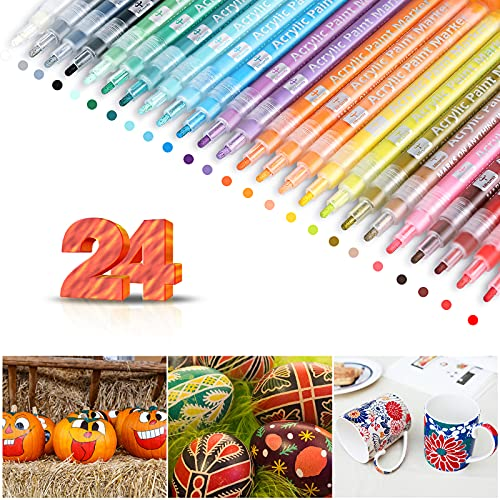 Paint Pens Markers - Acrylic Paint Marker Pens for Rocks Painting, 24 Vibrant Colors Paint Markers Kit for Glass Stone Wood Ceramic Craft Supplies Great for Christmas Easter Egg Pumpkin Markers