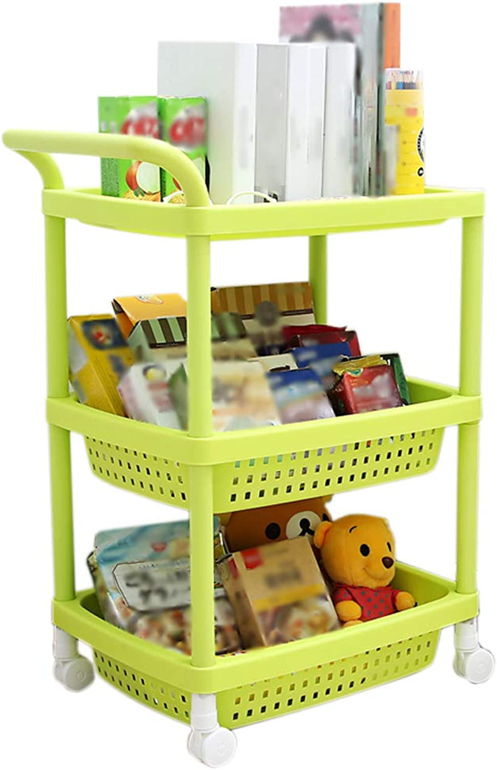 HUYP Rack Movable Trolley with Pulley Finishing Rack Bathroom Storage Rack (color   Green)