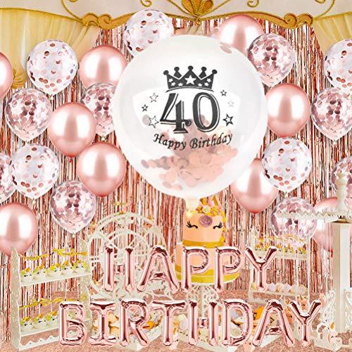 FOCCTS Decoración de Cumpleaños 40 de Oro rosa con Pancarta de Feliz Cumpleaños,Confeti y 40 Globos para Fiesta de Cumpleaños Celebraciones de Bodas, Fiestas,etc