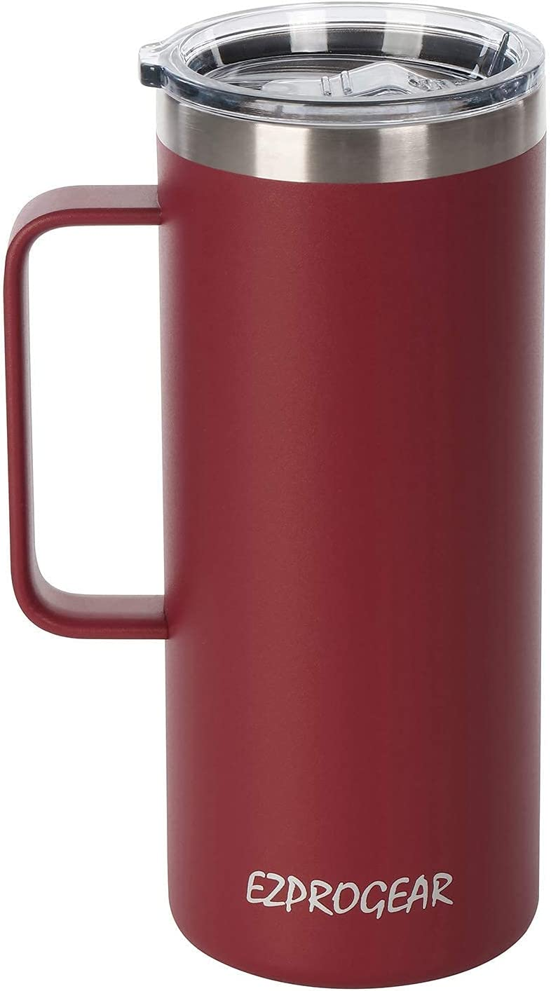 Ezprogear Stainless Steel 32 oz Beer Tumbler Red Cherry Water Mug Double Wall Vacuum Insulated with Handle and Lid (32 oz, Cherry)