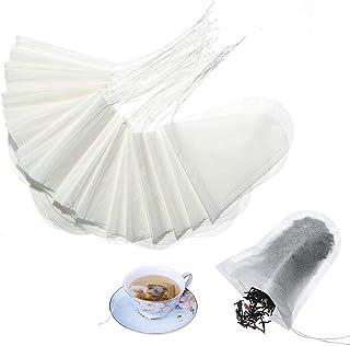 Tea Filter Bags Volwco 100pcs U Shape Disposable Tea Infusers, Natural Pulp Material Drawstring Seal Tea Bag Empty For Loo...