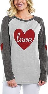 قمصان عيد الحب للنساء قمصان الحب القلب طباعة ربط بلايز مضحك شريط راجلان كم طويل بلوزة