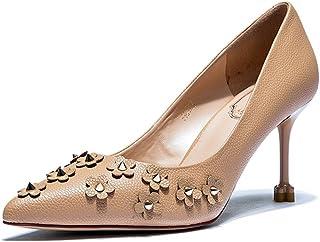 6dd7c2703d6b64 féminin élégant à bout pointu chaussures à talons hauts à la mode rivets  sandales à bouche peu profonde chaussures de mariage marron pieds sexy  chaussures ...
