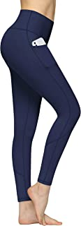 High Waist Yoga Pants with Pockets for Women Capris Workout Leggings Non See Through 4 Way Stretch Tummy Control Sports Pa...