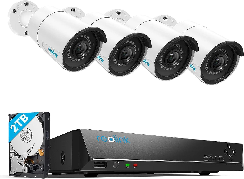 Reolink 5MP Caméra de Surveillance Extérieure, Kit Vidéo Surveillance avec 8CH 2To NVR et Caméra IP PoE Filaire 4X 5MP