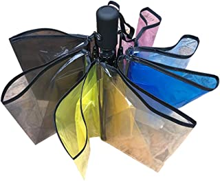 Rainbow Auto Umbrella Portable Folding Transparent Automatic Open Travel Umbrella for Women Girls (Multicolor)