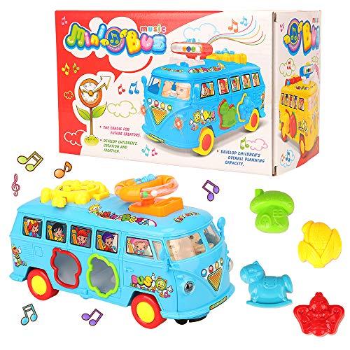 Miunana baby speelgoed 6-18 maanden, elektrisch educatief speelgoed motorisch speelgoed muziekbus, muziek en licht, peuter 1-2 jaar cadeau