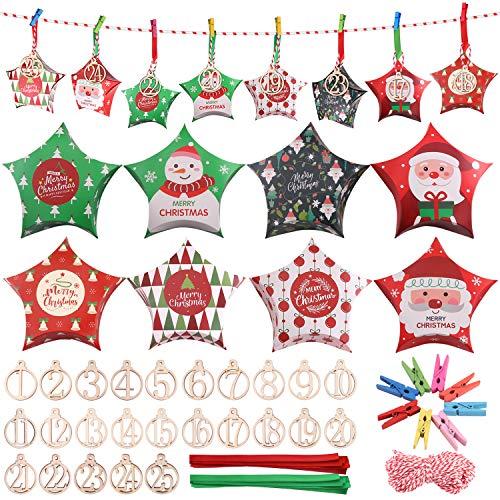 Minterest Calendario avvento,25 Giorni di Natale Conto alla rovescia Scatole Regalo di Caramelle con Corda da 40 Piedi Clip di Legno Fette Nastri per Forniture per Decorazioni per Feste di Natale