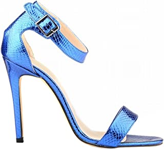 Wotefusi Women Summer Snakeskin Pattern Open Toe Bandage Ankle Strap Party Club Sandals Blue 11B(M) US
