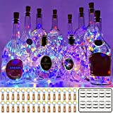MUMUXI 30 Pack 20 LED Wine Bottle Lights with Cork, 3.3ft Silver Wire Cork Lights Battery Operated Fairy Mini String Lights for Liquor Bottles Party Wedding Halloween Christmas Decorations, Colorful