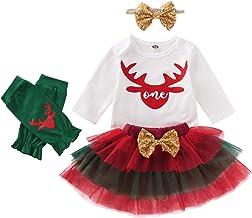 HAPPYMA Christmas Baby Girl Outfits 1st Birthday Deer Long Sleeve Romper Top Tulle Tutu Skirt Headband Leg Warmers 4pcs Clothes Set