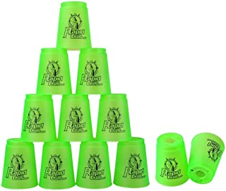 Super Stacks Quick Stacks Cups, Rapid Sport Stacking Cups Speed Training Set of 12 (Green)