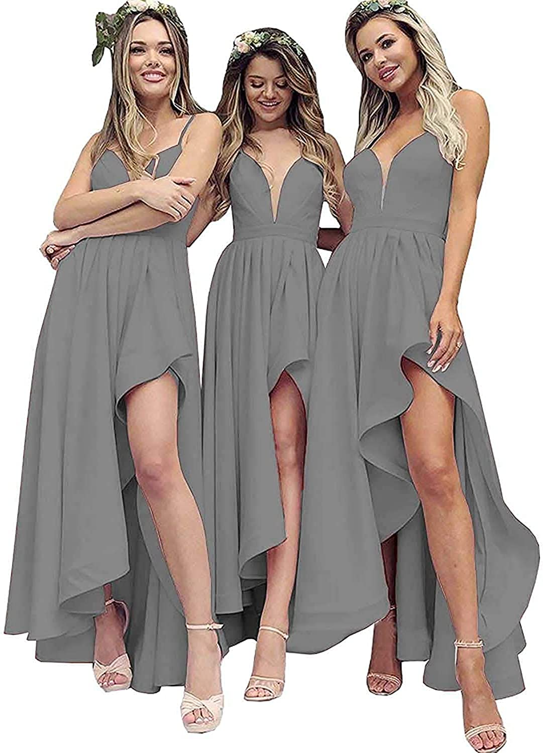 CLERYYE Wedding Guest Evening Dresses High Low Skirt Prom Bridesmaid Gown