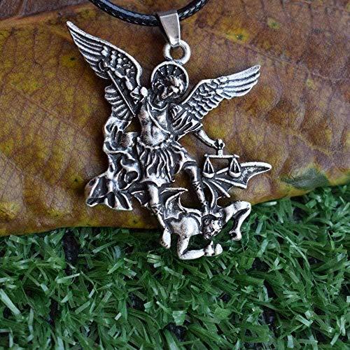 BACKZY MXJP Necklace Archangel Protect Me Saint Shield Protection Charm Russian Pendant Men S Necklace