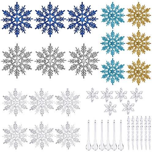 WD&CD 36 pcs 3D decoraciones colgantes de copo de nieve Tridimensional adorno para colgante de árbol de navidad, Adorno Colgante Navideña para Cumpleaños de Fiestas Temáticas, Azul+Dorado+Plata