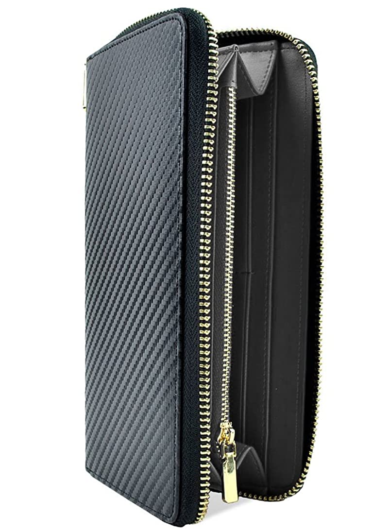 チューインガムと組む脱獄極上カーボンレザー 本革 大容量 長財布 ラウンドファスナー ブラック×ブラック ME0173_c1
