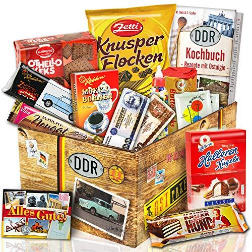 Ostprodukte Süssigkeiten Box – Zetti Knusperflocken Vollmilch, Halloren-Kugeln Classic, Viba Nougat Stange uvm. +++ Ost Waren DDR Box als Geschenkkorb mit Kultprodukten der DDR ++ Ostpaket DDR Geschenkbox DDR Produkt DDR Süßigkeiten-Box Waren DDR Geschenk