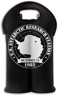 2-Bottle Wine Tote Carrier Bag Output 31 Antarctica Research Thermal Neoprene Wine Bottle Holder Cooler Carrier For Travel, Picnic, Keeps Bottles Protected
