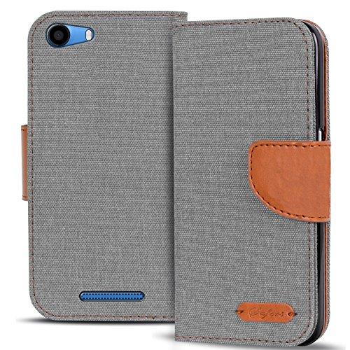 Conie TW43724 Textil Wallet Kompatibel mit Wiko Lenny 2, Textil Hülle Klapptasche mit Kartenfächer Etui Slim Cover für Lenny 2 Handyhülle Jeans Grau