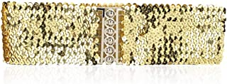 Women Girl Lady Fashion Casual Style Elastic Stretch Belt Cover with Shinning Sequins Waist Waistband Belt for Female - Gold