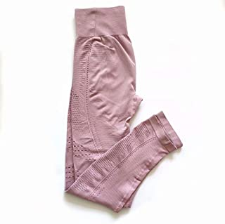 Fitness Pants Women High Waist Tight Hips Running Sports Yoga Pants,Light Pink,L