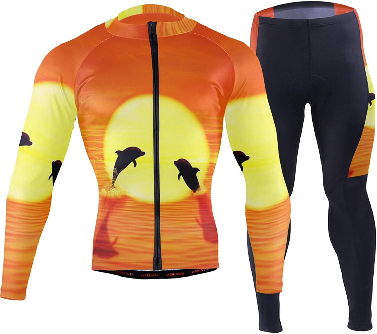 FAJRO Dolphin Sunset Jump Sportswear Suit Bike Outfit Set Breathable Quick Dry 3D Padded Pants