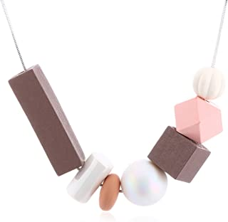 Women Necklace Statement Necklaces & Pendants Geometric Wood Beads Necklace For Women Jewelry