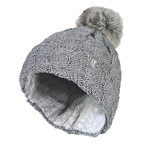5e5aa6962fc HEAT HOLDERS - Ladies Warm Knit Fleece Lined Cuffed Thermal Winter Bobble Hat  Pom Pom
