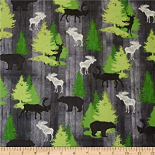 QT Fabrics Moose Trail Lodge Animals & Pine Trees Fabric, Gray, Fabric By The Yard