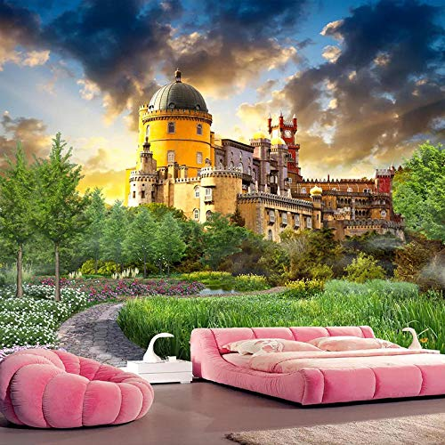 XIAOHUKK PVC self-Adhesive Wallpaper 3D Photo Wallpaper Castle Garden Landscape Wall Mural Photo self-Adhesive Modern Home Decoration Living Room Dining Room Bedroom