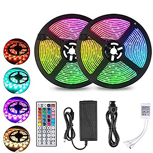 LED Strip Lights 32.8ft,Upgrade Flexible Rope Lights Color Changing 5050 RGB 300 Neon LEDs Light Strips Kit with 44 Keys Remote and 12V Power Supply for Bedroom, Room, Wall,Home,Kitchen,Christmas