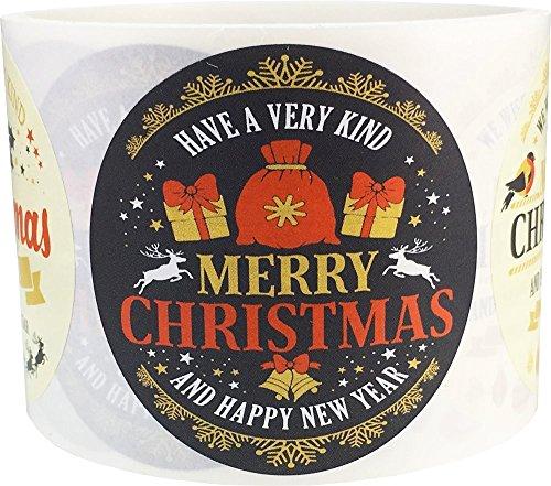 Adesivos Feliz Natal Ano Novo 6,35 cm redondos círculos bolinhas 4 designs diferentes 100 adesivos no total