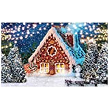 Allenjoy 5x3ft Lollipop Gingerbread House Backdrop Glitter Winter Night Xmas Pine Trees Snowflakes Photography Background for Kids Baby Shower Birthday Party Decor Banner Portrait Photo Booth Props
