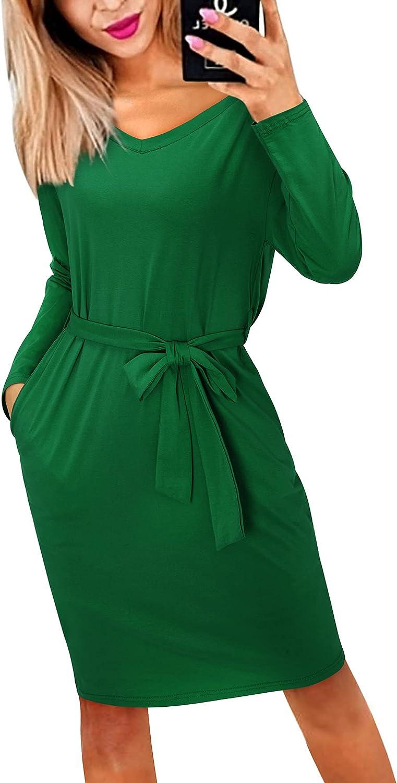 STYLEWORD Women's Crewneck Long Sleeve Belt Wrap Elegant Pencil Dress with Pockets