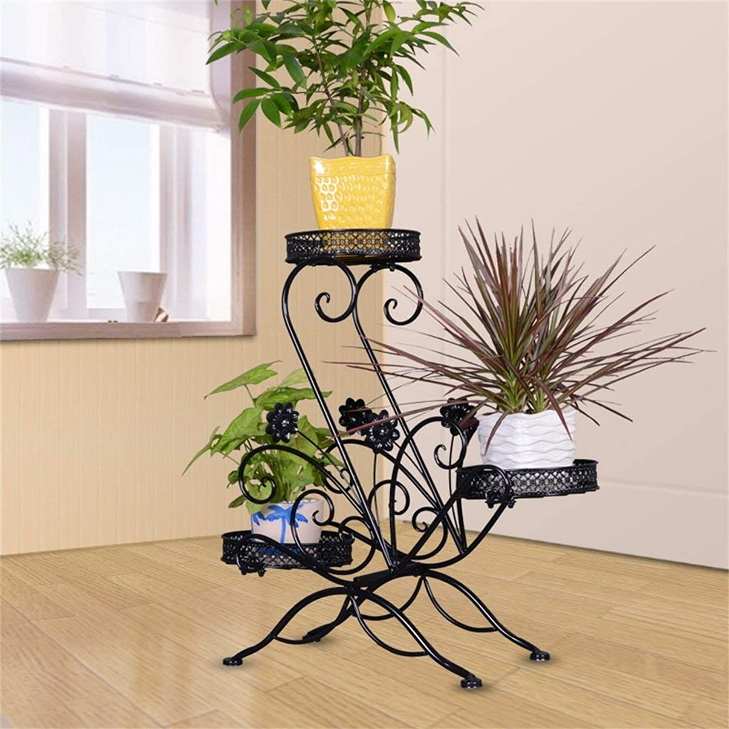 Gifts & Decor Plant Stand Shelf Outdoor Indoor Display Plant Stand Multi-Layer Plant Display Frame Garden Metal Shelf Indoor Outdoor Wrought Iron Craft Flower Shelf Layer Multifunctional Shelf