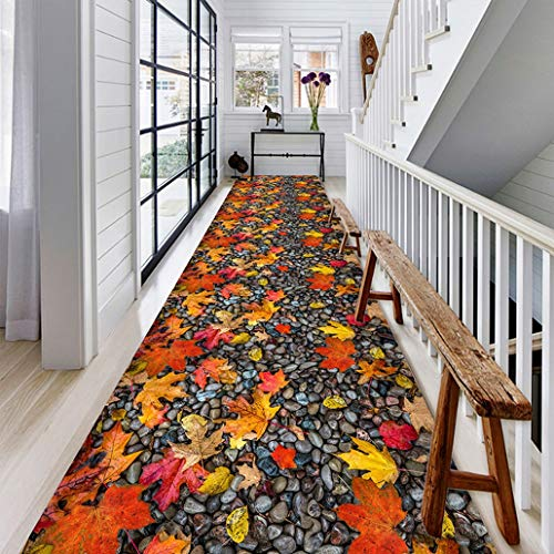 Auart Extra Long Runner Rug for Hallway, Chic Pebble and Maple Leaf Print Design Custom Size Floor Runner Rug with Non-Skid Rubber Backing (Size : 100×200cm)